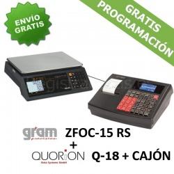 Pack Registradora QUORION Q-18 (QMP 18)+ Cajón + Balanza Gram ZFOC-15 RS