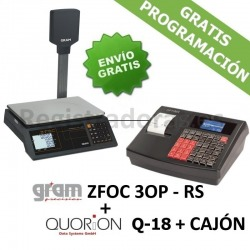 Pack Registradora QUORION Q-18 (QMP 18)+ Cajón + Balanza Gram ZFOC-30P RS