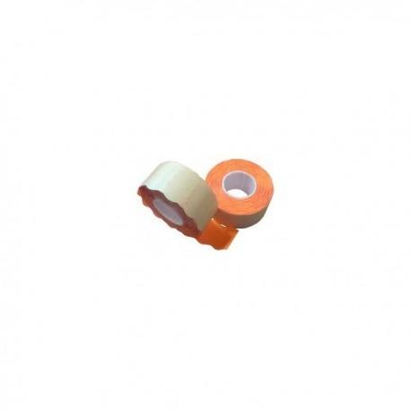 5 Rollos etiquetadora manual 26x16. Fluor Naranja. (2 Lineas)