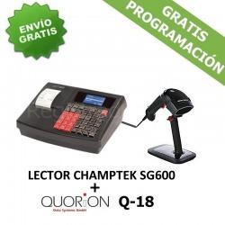 Pack Registradora QUORION Q-18 (QMP 18)+ Cajón + Lector Codigo Barras CHAMPTEK SG600
