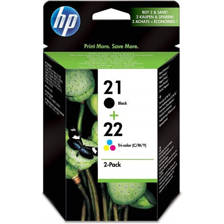 Cartucho Tinta HP Nº 21+22 Negro + Color-ORIGINAL-